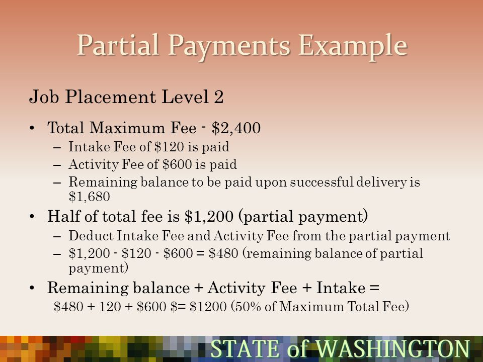 Partial Payments Example