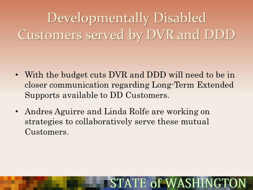 Developmentally Disabled Customers served by DVR and DDD