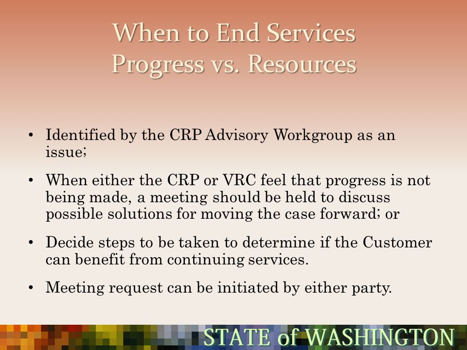 When to End Services Progress vs. Resources