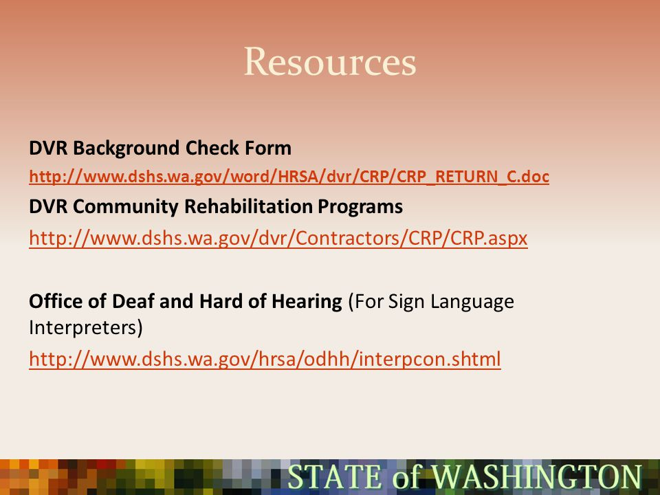 Resources DVR Background Check Form