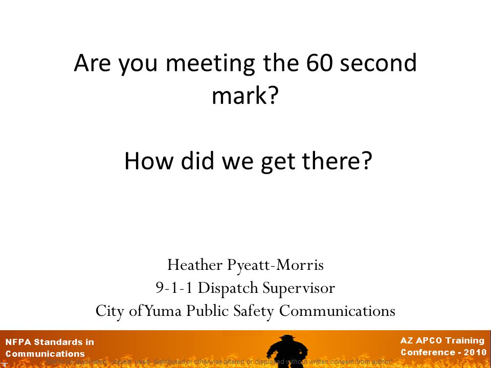 Are you meeting the 60 second mark How did we get there