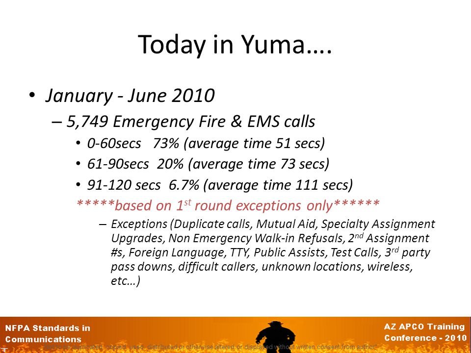 Today in Yuma…. January - June 2010 5,749 Emergency Fire & EMS calls