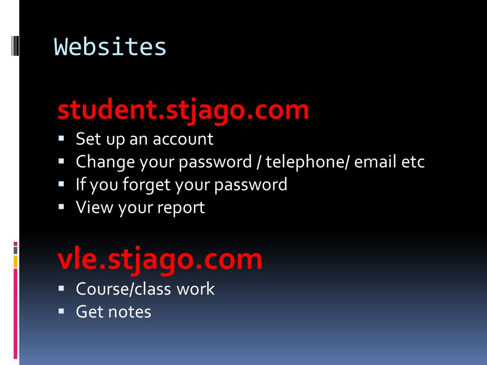 vle.stjago.com student.stjago.com Websites Set up an account