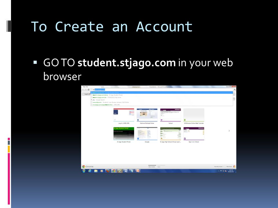 To Create an Account GO TO student.stjago.com in your web browser