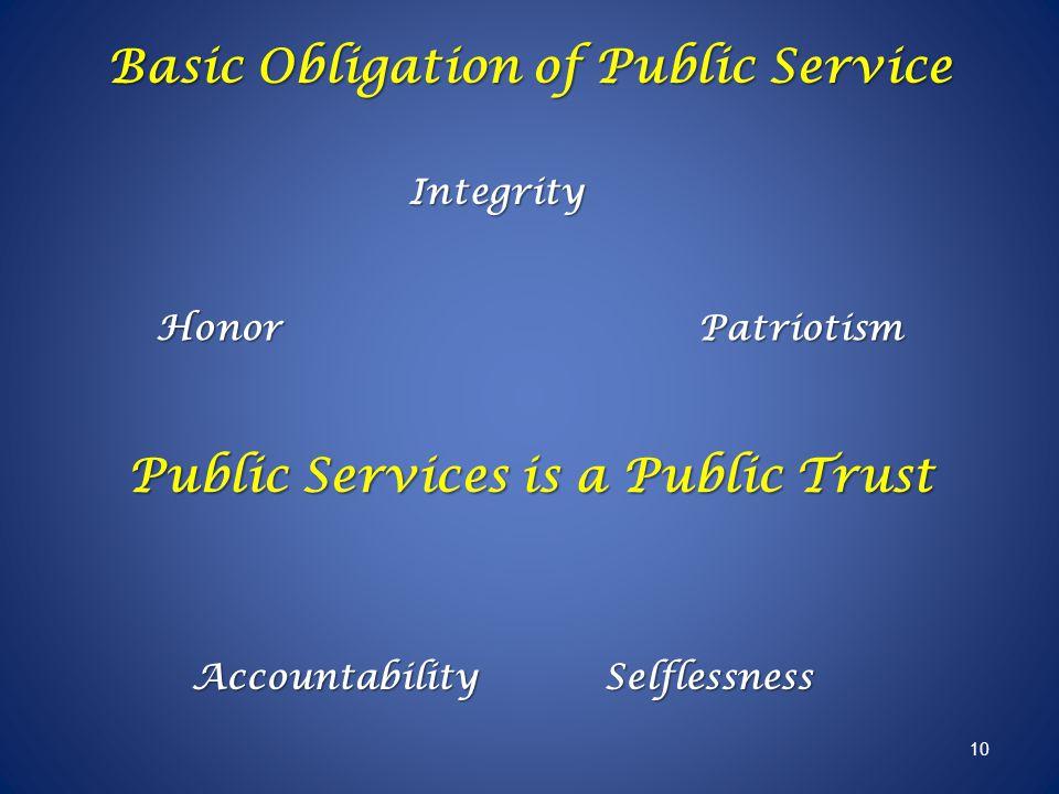 Basic Obligation of Public Service