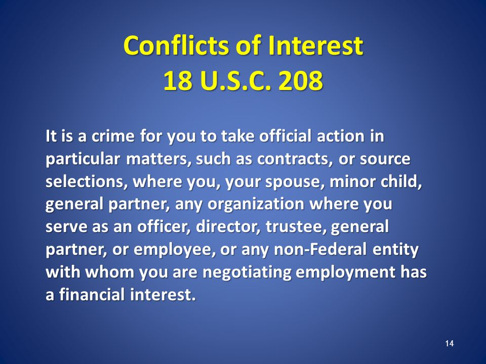 Conflicts of Interest 18 U.S.C. 208