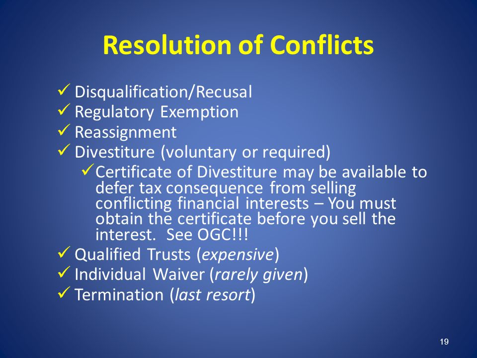 Resolution of Conflicts