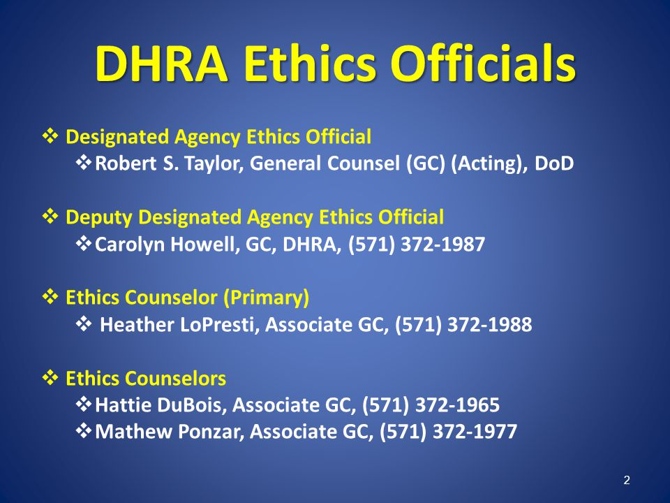 DHRA Ethics Officials Designated Agency Ethics Official