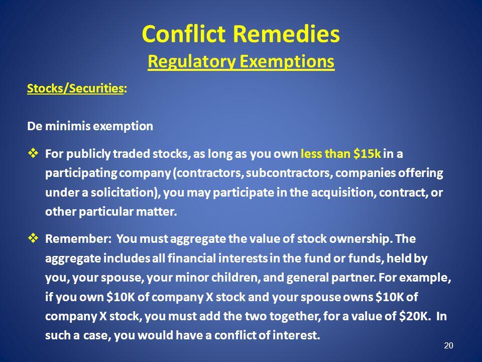 Conflict Remedies Regulatory Exemptions