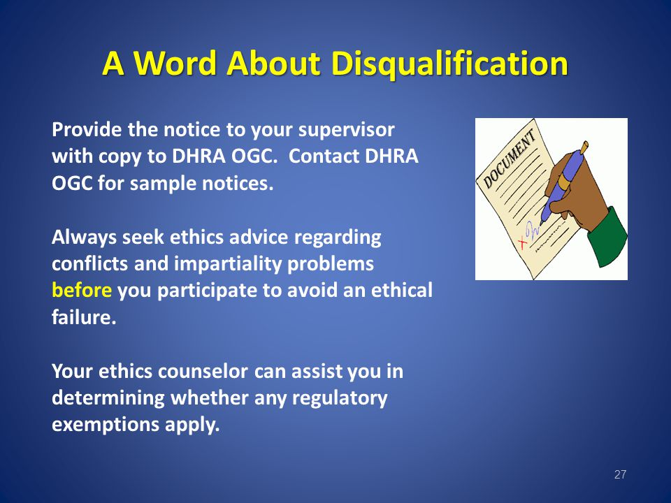 A Word About Disqualification