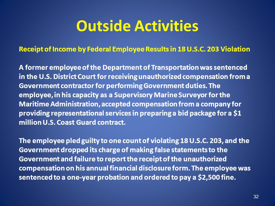 Outside Activities Receipt of Income by Federal Employee Results in 18 U.S.C. 203 Violation.