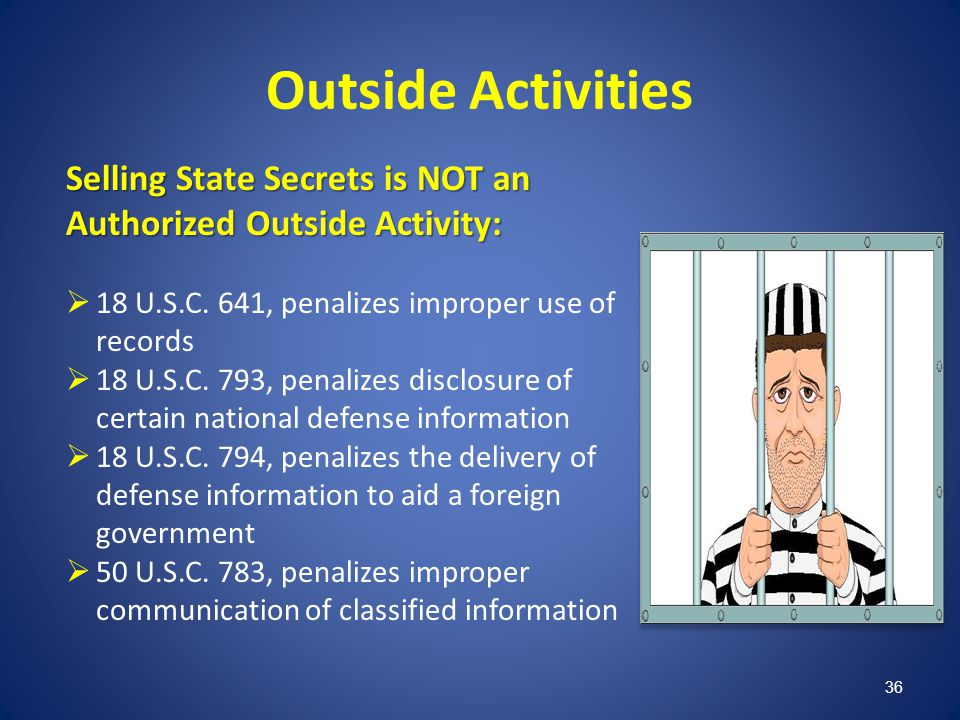 Outside Activities Selling State Secrets is NOT an Authorized Outside Activity: 18 U.S.C. 641, penalizes improper use of records.