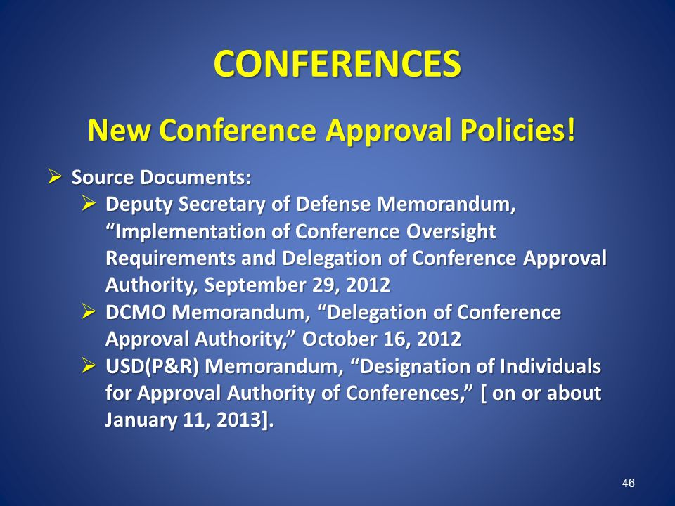 New Conference Approval Policies!