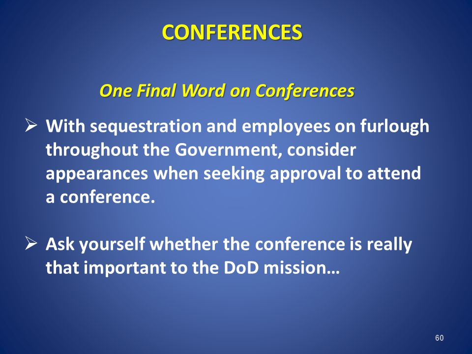 One Final Word on Conferences