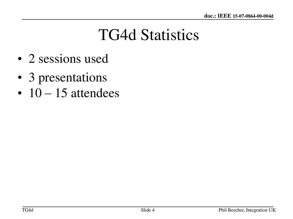 TG4d Statistics 2 sessions used 3 presentations 10 – 15 attendees