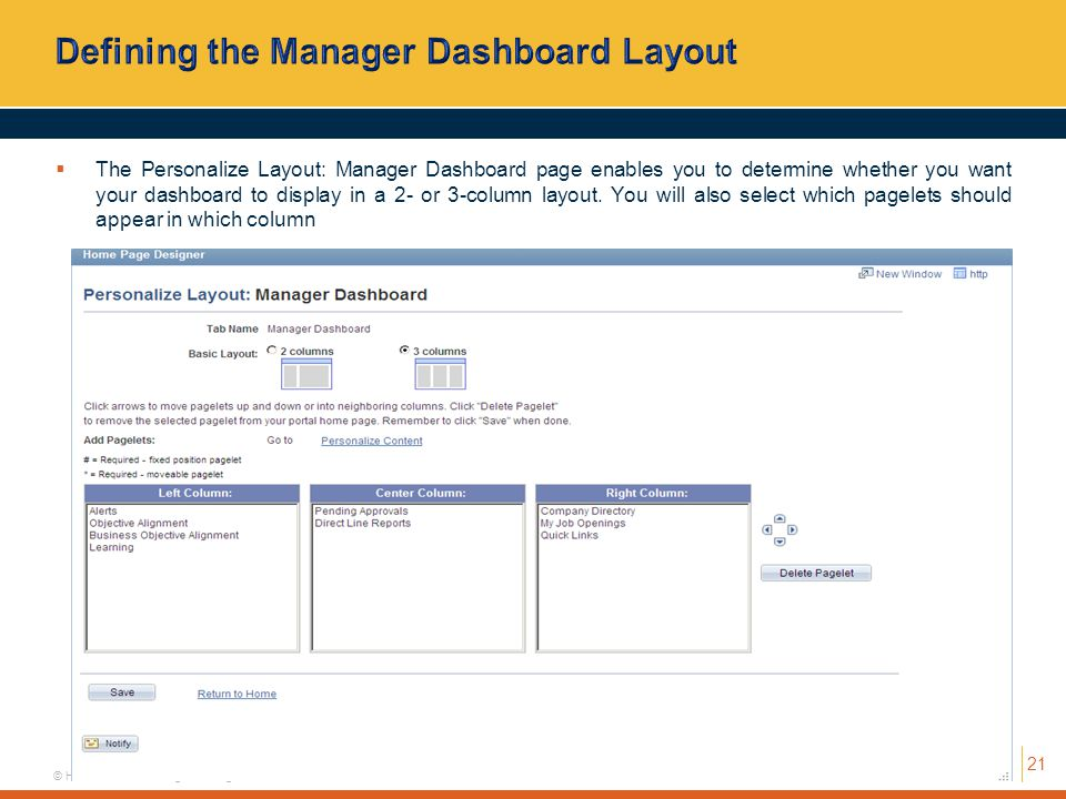 Defining the Manager Dashboard Layout