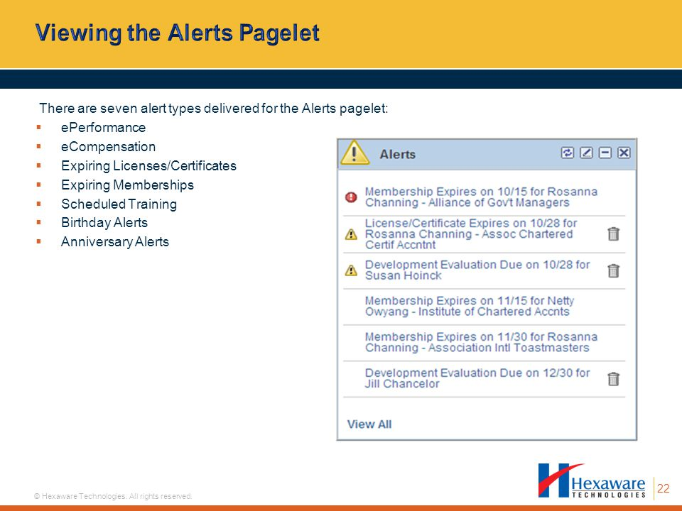 Viewing the Alerts Pagelet
