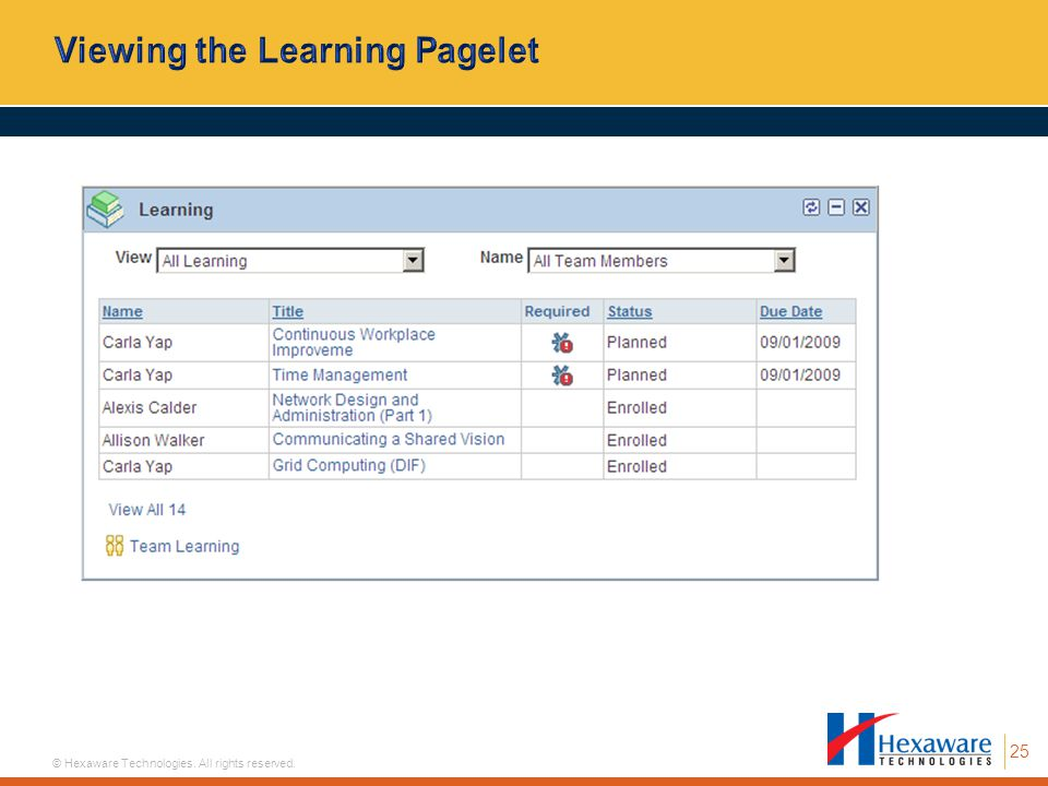 Viewing the Learning Pagelet