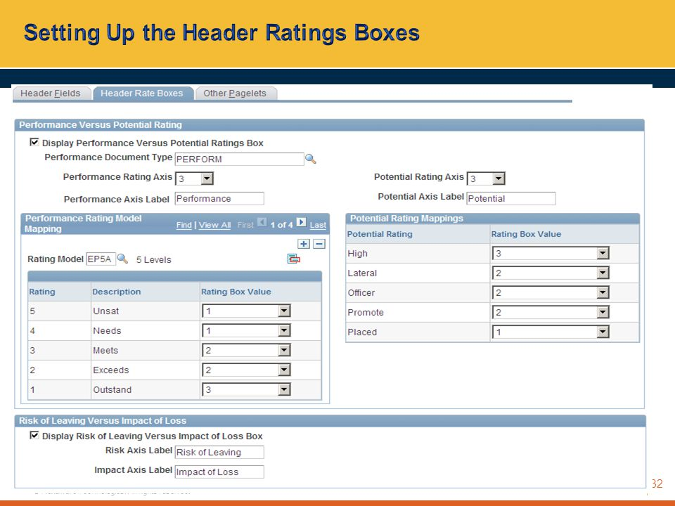 Setting Up the Header Ratings Boxes