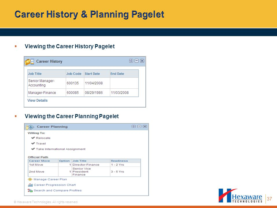 Career History & Planning Pagelet