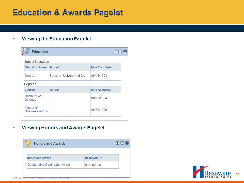 Education & Awards Pagelet