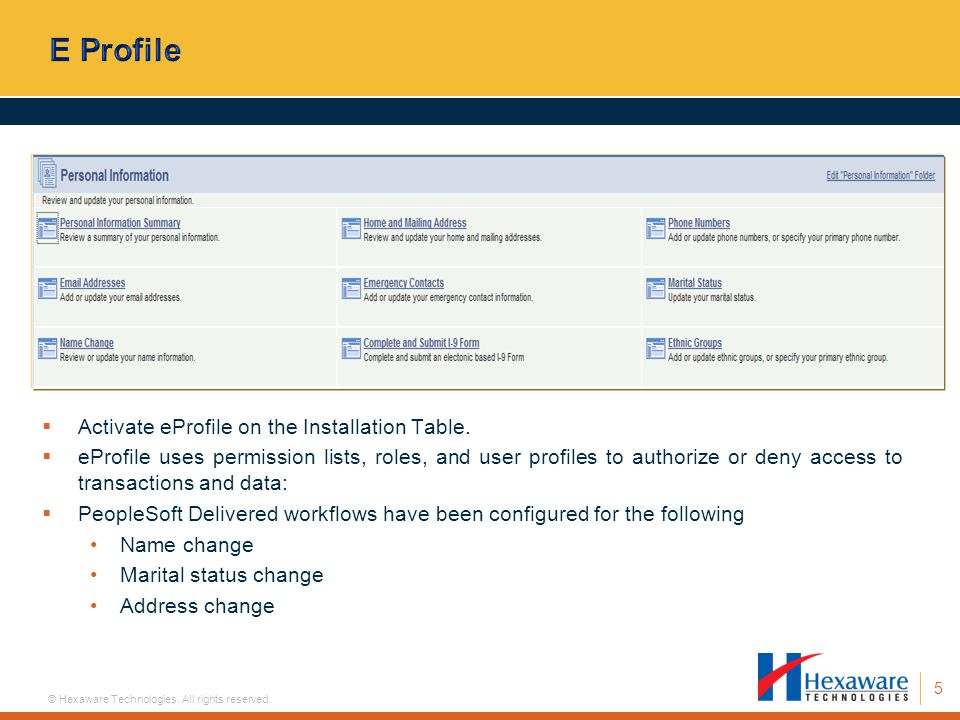 E Profile Activate eProfile on the Installation Table.