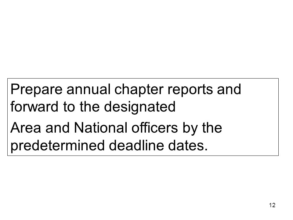 Prepare annual chapter reports and forward to the designated