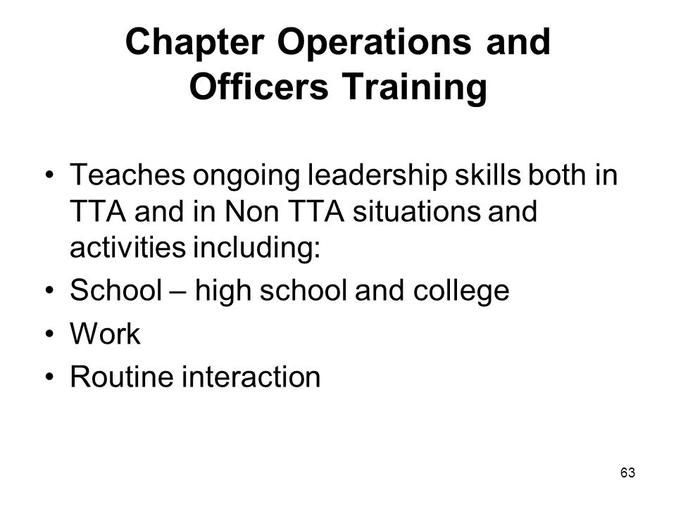 Chapter Operations and Officers Training