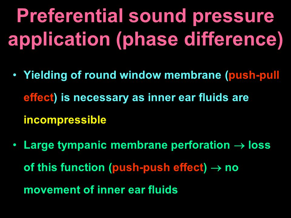 Preferential sound pressure application (phase difference)