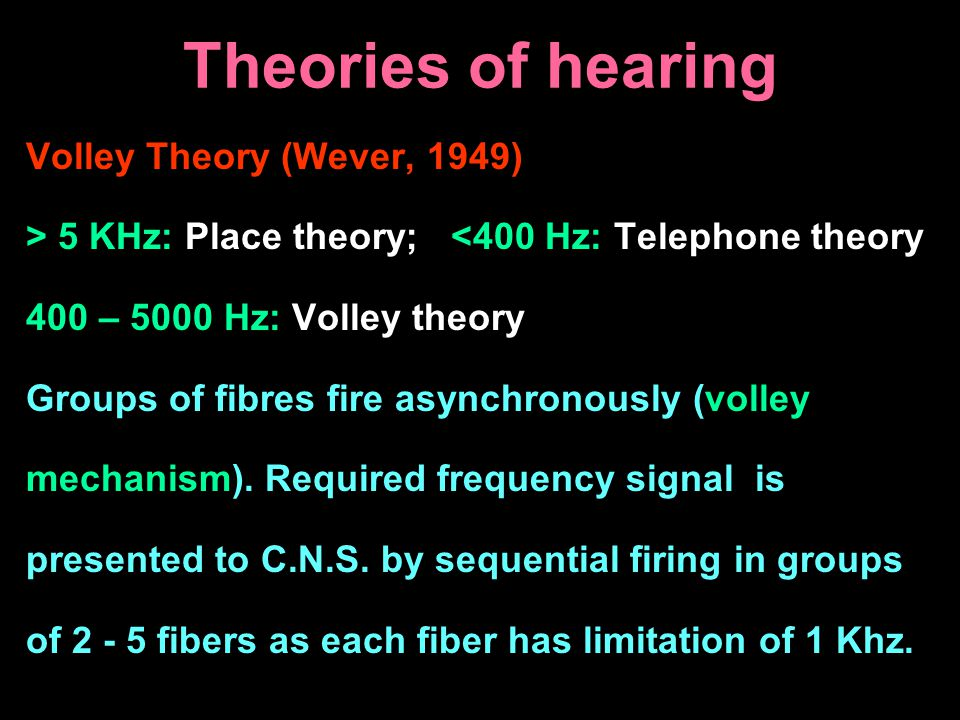 Theories of hearing Volley Theory (Wever, 1949)