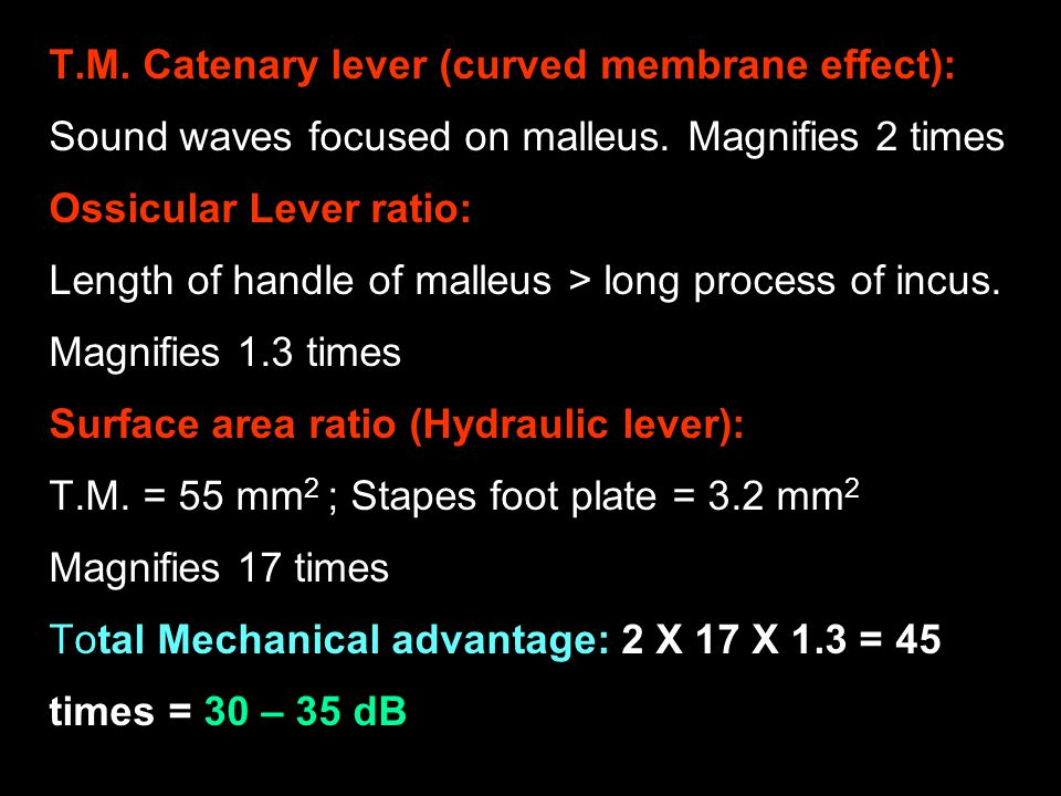 T.M. Catenary lever (curved membrane effect):