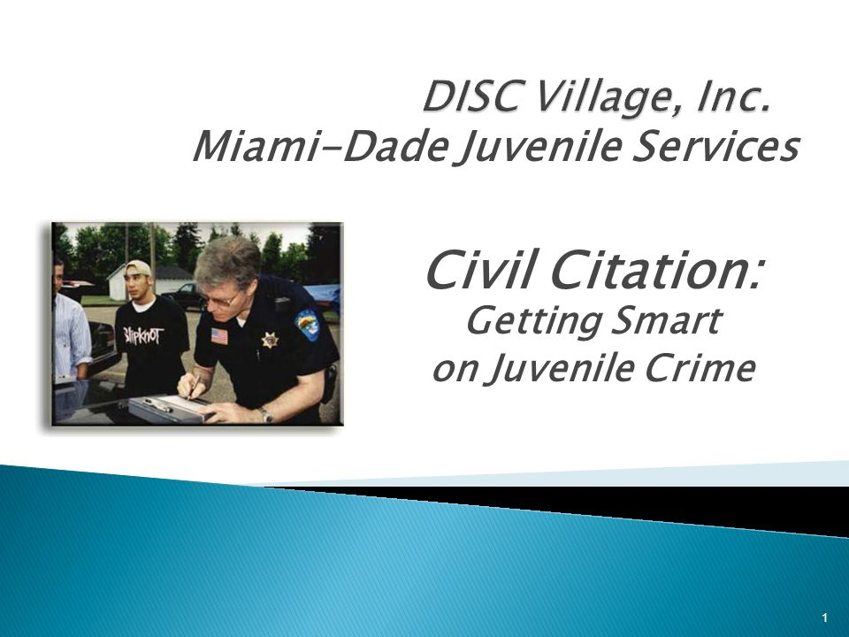 Civil Citation: Getting Smart on Juvenile Crime
