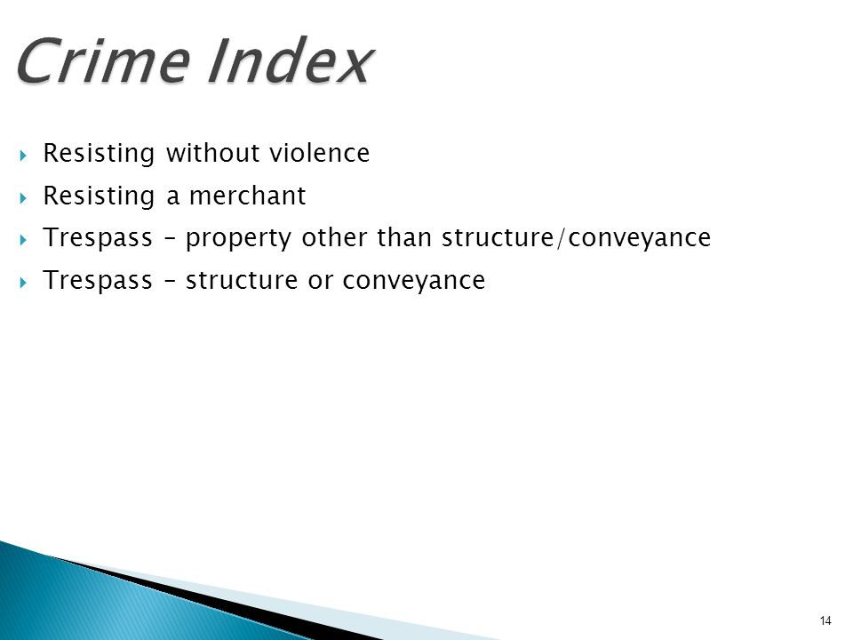 Crime Index Resisting without violence Resisting a merchant