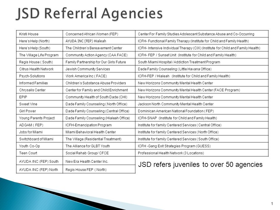 JSD Referral Agencies JSD refers juveniles to over 50 agencies