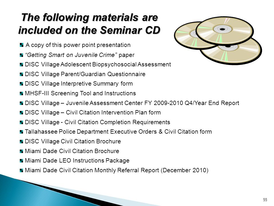 The following materials are included on the Seminar CD