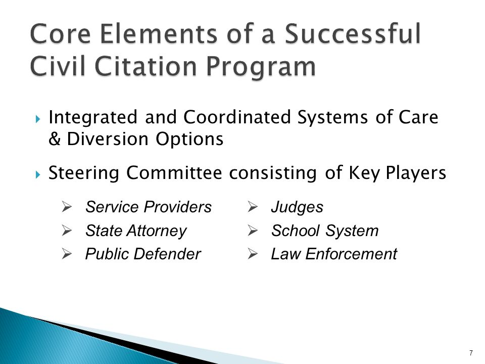 Core Elements of a Successful Civil Citation Program
