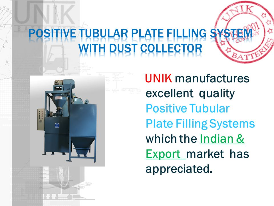 Positive tubular plate filling system with dust collector