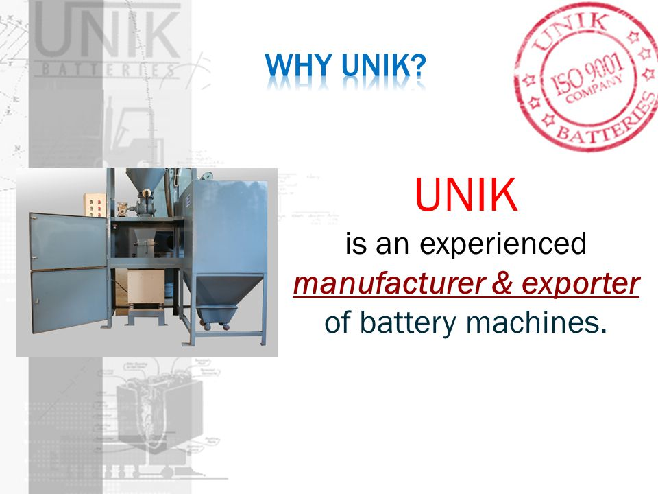 manufacturer & exporter of battery machines.