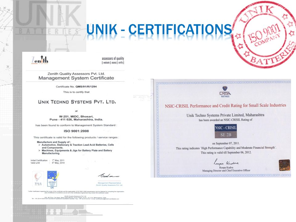 UNIK - Certifications