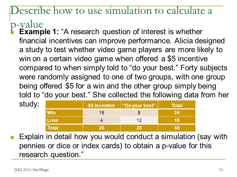 Describe how to use simulation to calculate a p-value