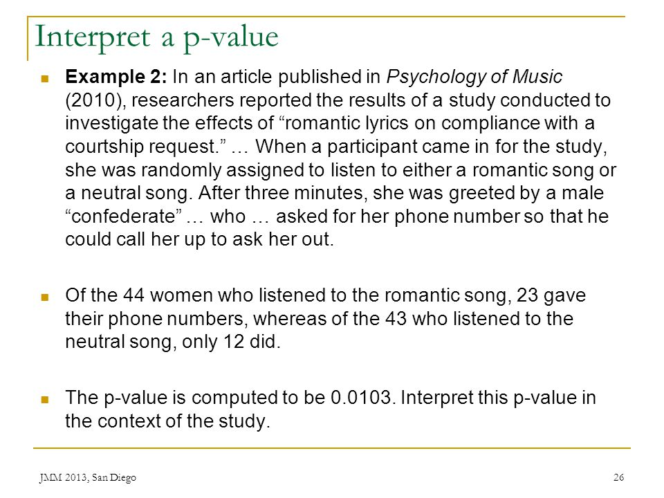 Interpret a p-value