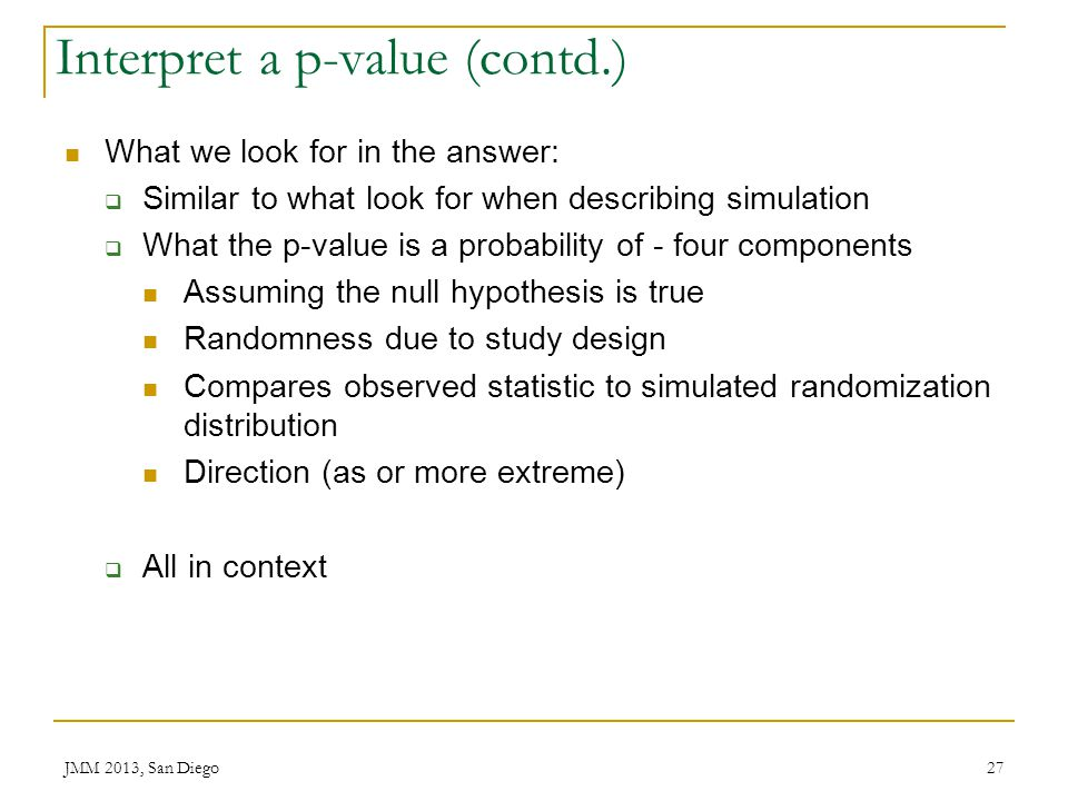 Interpret a p-value (contd.)