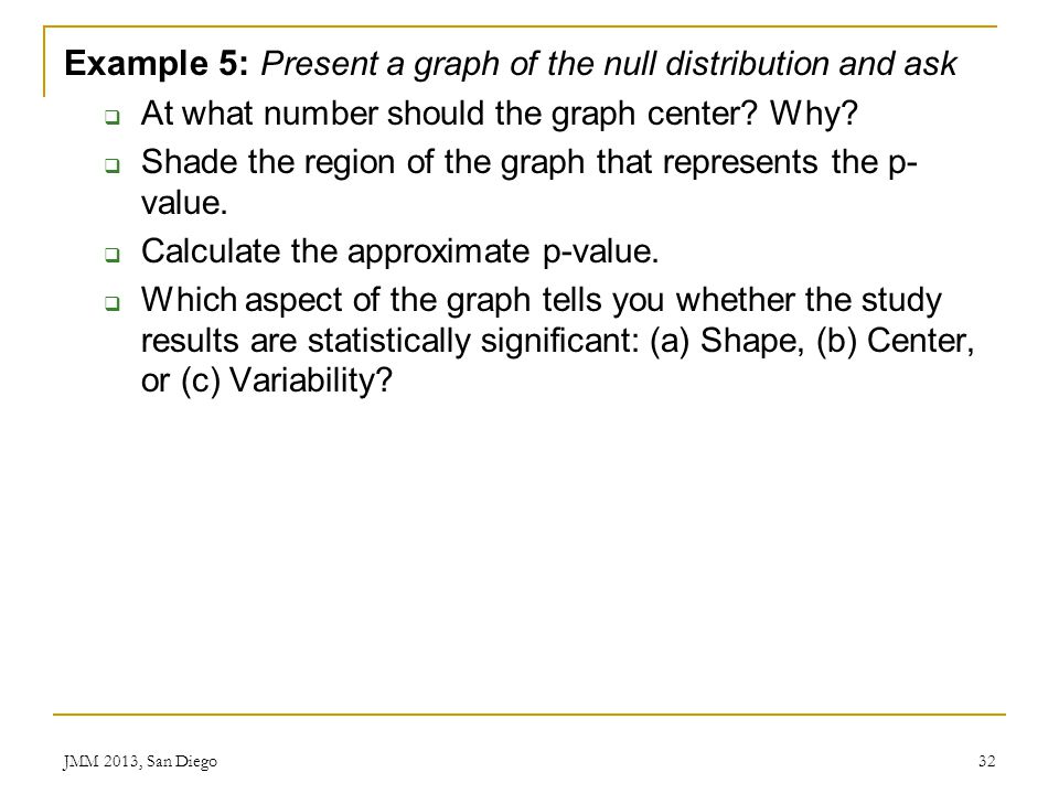 Example 5: Present a graph of the null distribution and ask