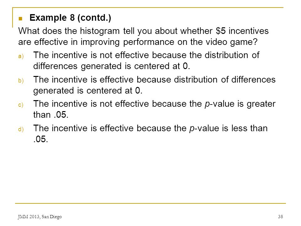 The incentive is effective because the p-value is less than .05.