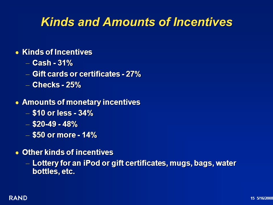 Kinds and Amounts of Incentives