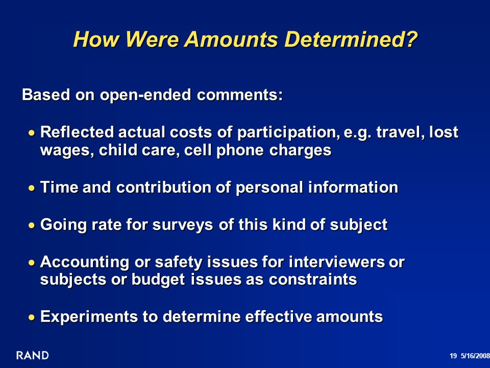 How Were Amounts Determined