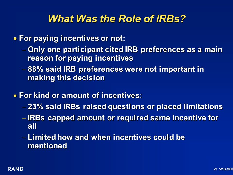 What Was the Role of IRBs