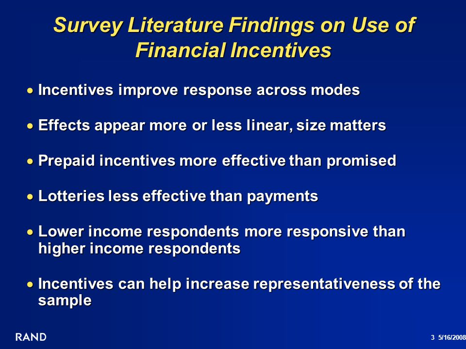 Survey Literature Findings on Use of Financial Incentives