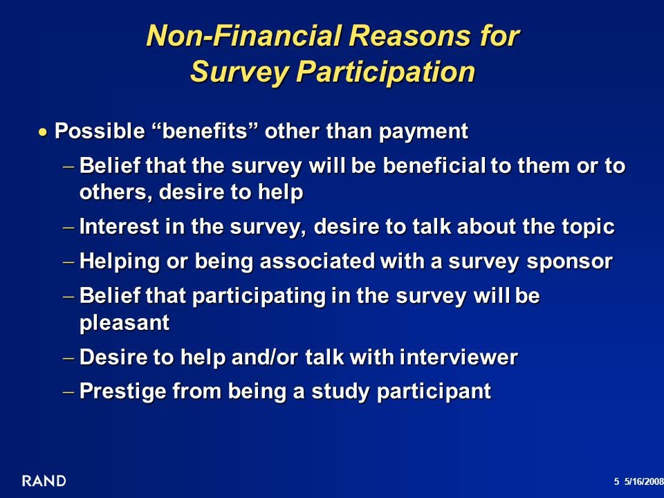 Non-Financial Reasons for Survey Participation