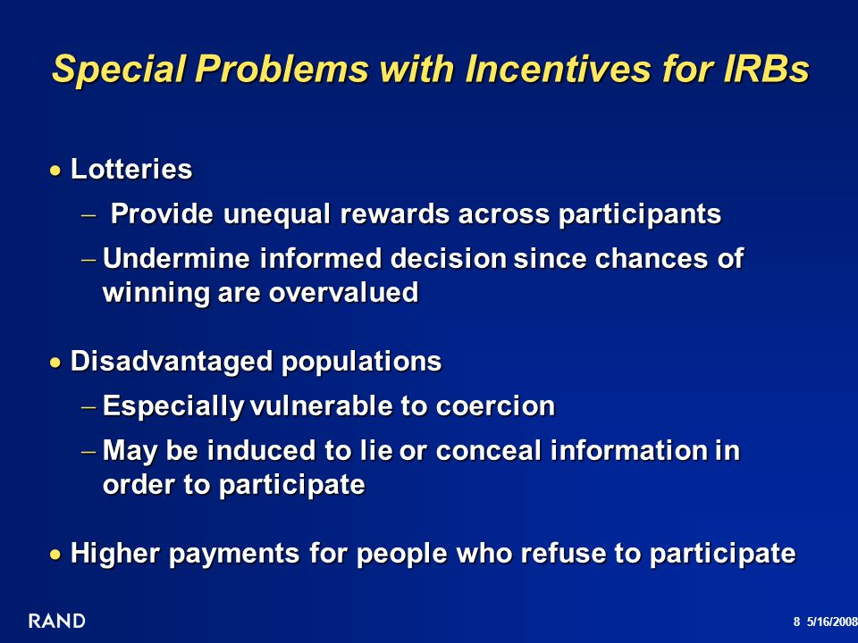 Special Problems with Incentives for IRBs